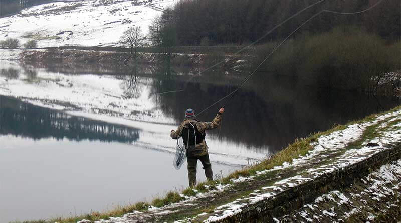 fly fishing in snow